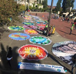 San Francisco Climate March - Mural and Parachutes at City Hall