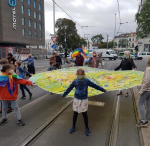 Earth Day Climate Strikes and Parachute Displays (10 Parachutes)